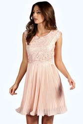 Boohoo Corded Lace Pleated Skater Dress Blush
