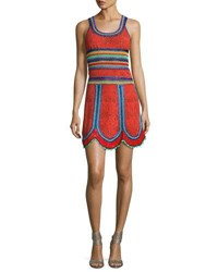 Roberto Cavalli Crocheted Lace Combo Tank Dress Red