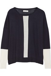 Chinti And Parker Tow Tone Merino Wool Sweater Navy