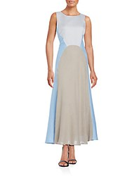 Lafayette 148 New York Solange Colorblock Linen Maxi Dress Ice Water