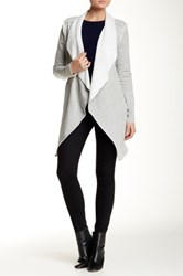 Blanc Noir Long Drape Front Pile Lined Fleece Jacket Gray