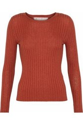 Red Valentino Point D'esprit Paneled Ribbed Cashmere And Silk Blend Sweater Brick