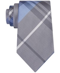 Kenneth Cole Reaction Men's Seagull Plaid Tie Silver