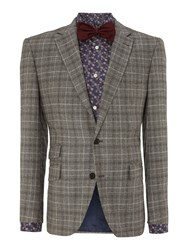 New And Lingwood Newark Check Flannel Notch Lapel Blazer Light Brown