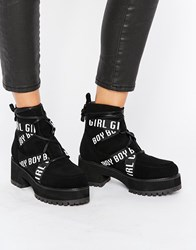 Asos Rui Chunky Ankle Lace Up Boots Black