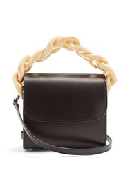 Marques Almeida Oversized Curb Chain Leather Shoulder Bag Black