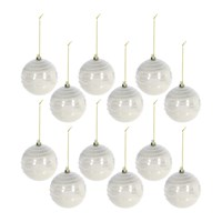 Amara Glitter Top Lines Bauble Set Of 12 Pearl