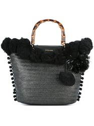 Twin Set Pompom Tote Black