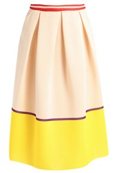 Patrizia Pepe Pleated Skirt Beige Yellow