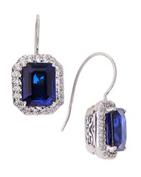 Fantasia Cz Pave And Synthetic Sapphire Earrings