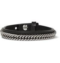 Givenchy Leather And Silver Tone Bracelet Black
