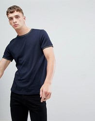 Ted Baker Crew Neck Cotton T Shirt With Jacquard Spot Collar Navy