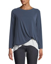 Casual Couture Knot Front Long Sleeve Tee Blue White