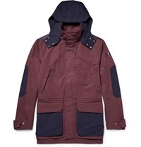 The Workers Club Hooded Two Tone Cotton Canvas Jacket Burgundy