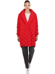 Angel Chen Logo Cocoon Down Coat Red