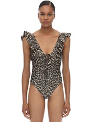 Zimmermann Leopard Printed One Piece Bathing Suit Khaki Leopard