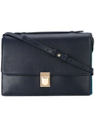 Paul Smith Green Detail Shoulder Bag Women Calf Leather One Size Blue