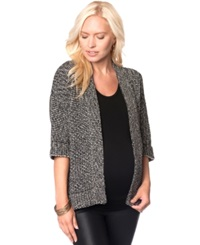 A Pea In The Pod Maternity Short Sleeve Houndstooth Open Front Cardigan Black White Marl