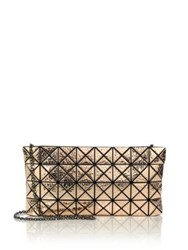 Issey Miyake Platinum Hammered Metallic Faux Leather Clutch Gold