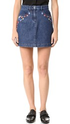 The Kooples Denim Embroidered Miniskirt Blue