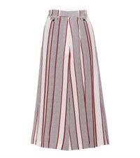 Victoria Beckham Cropped Wide Leg Silk Trousers White