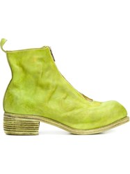 Guidi Front Zip Ankle Boots Green