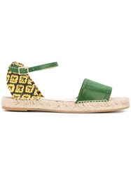 Charlotte Olympia Pineapple Sandals Women Leather Straw Canvas Rubber 36 Green