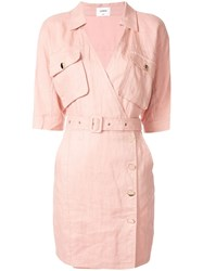 Suboo Manny Utility Wrap Mini Dress Pink