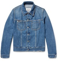 Maison Martin Margiela Corduroy Trimmed Distressed Denim Jacket Blue