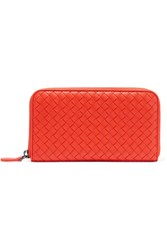 Bottega Veneta Intrecciato Leather Continental Wallet Tomato Red