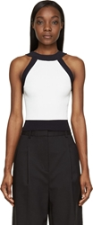 3.1 Phillip Lim Black And White Knit Cropped Halter Top