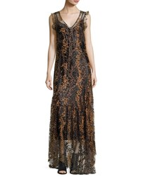 Opening Ceremony Sleeveless Enamel Glitter Maxi Dress Copper