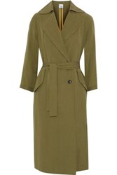 Iris And Ink Maggie Tencel Twill Trench Coat Army Green