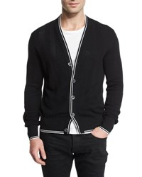 Tom Ford Textured Rib Cardigan With Tipped Trim Black