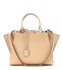 Fendi 3Jours Embellished Leather Tote Beige