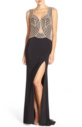 Women's Jovani Embellished Illusion Jersey Gown