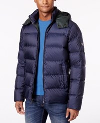Michael Kors Men's Quilted Hooded Coat Midnight