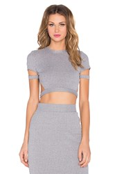 Rise Rib Perfection Crop Top Gray