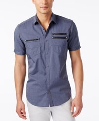Inc International Concepts Men's Dare Zip Pocket Short Sleeve Shirt Only At Macy's Blue Jeans