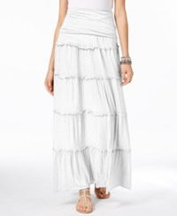 Inc International Concepts Tiered Convertible Maxi Skirt Only At Macy's Bright White