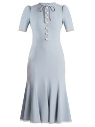 Dolce And Gabbana Short Sleeved Fluted Hem Cady Dress Light Blue