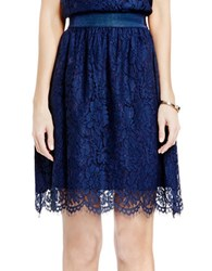 Vince Camuto Scalloped Lace A Line Skirt Navy