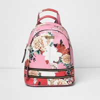 River Island Womens Pink And Red Floral Zip Backpack