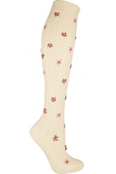 Red Valentino Embroidered Pointelle Wool Knee Socks White