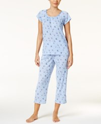 Charter Club Crinkle Printed Knit Pajama Set Only At Macy's Flutter Butterfly