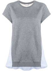 Red Valentino Striped Panelled Sweatshirt Grey