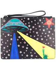 Christopher Kane Printed Clutch Cotton Leather Black