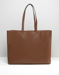 Asos Unlined Clean Leather Shopper Bag Chocolate Brown