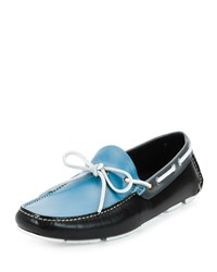 Salvatore Ferragamo Losanna Tricolor Calfskin Boat Shoe Driver Light Blue Black White Multi Colors