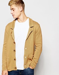 Asos Knitted Blazer In Cotton Camel